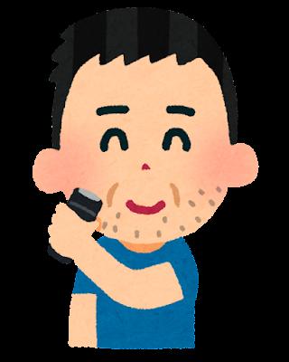 ヒゲを剃る男性のイラスト