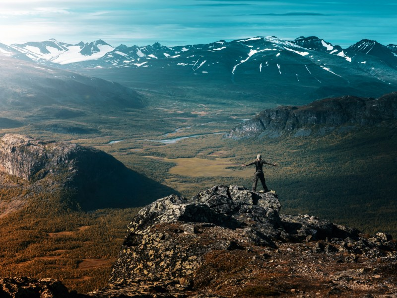 Download Hiker on Top of Glacier Cliff HD wallpaper. Click Visit page Button for More Images.