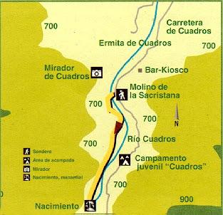 mapa ruta río Cuadros Bedmar Jaén