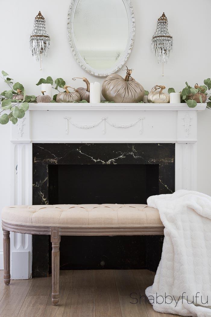 how to create a simple elegant mantel for fall shabbyfufu