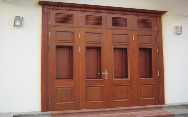 Cửa đi gỗ gõ đỏ đẹp giá tốt tại eNoiThat.vn