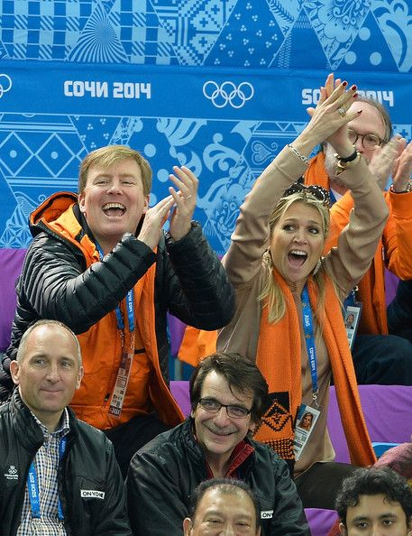 King Willem-Alexander and Queen Maxima attend the Short Track on day 3 of the Sochi 2014 Winter Olympics