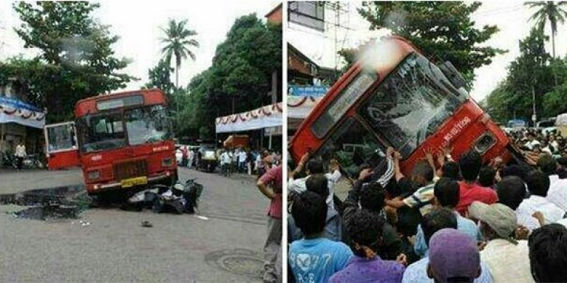 பஸ்ஸை அடியோடு தூக்கி இருவர் உயிரை காப்பாற்றிய மக்கள், people pulled a bus to rescue boys, 50 people lift a bus to save trapped students in an accident, power of indians, perundhai thookki uyirai kappatriya makkal, manidhabimanam, vinodha seidhigal, tamil news daily