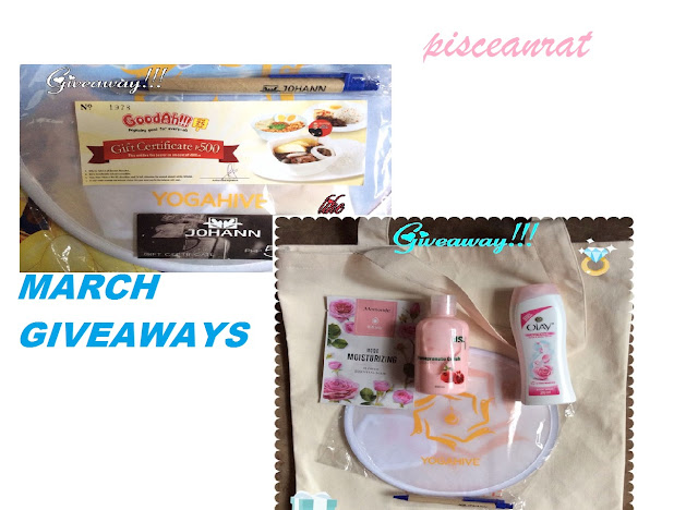 pisceanrat giveaway, Goodah 500 GC, Johann 50 GC and ballpen, Yogahive fan 2. Mamonde rose mask, Olay rose body wash, Diana Stalder pomegranate lotion, Johann ballpen,Yogahive fan and bag