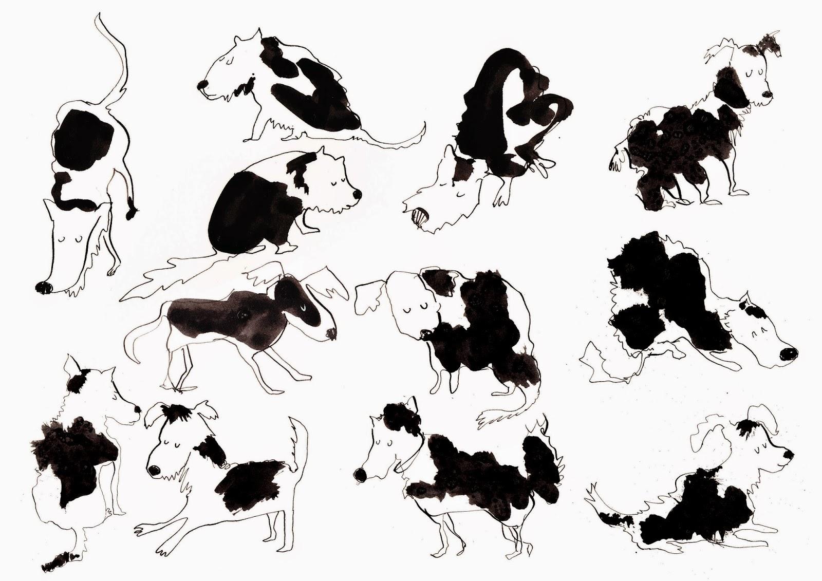 ink dogs illustration