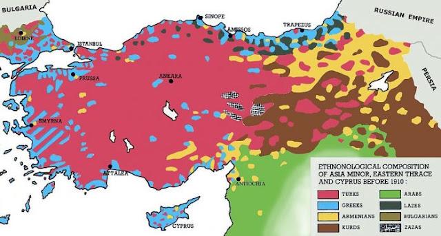 Χάρτης: Πού υπήρχαν Έλληνες (και πόσοι ήταν) στην Μικρά Ασία πριν το 1922