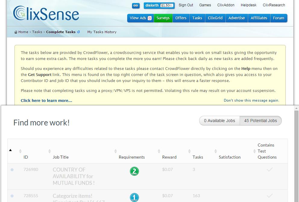 Tasks en ClixSense