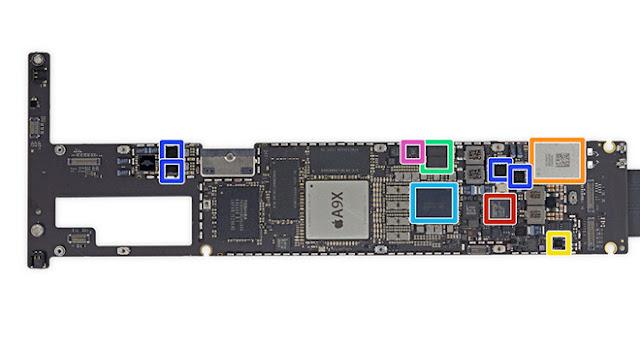 placa lógica do iPad Pro 3.0 inclui controlador USB do Fresco Logic (em destaque na laranja).