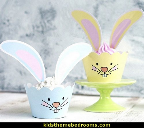rabbit ears cupcake wrappers cake toppers