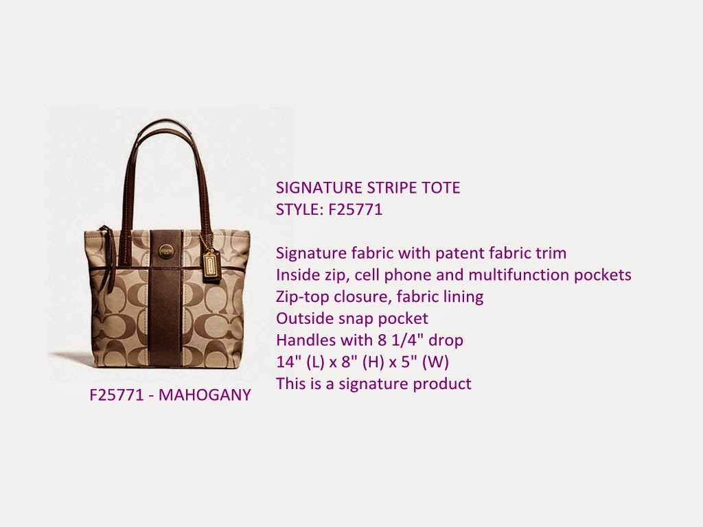 COACH SIGNATURE STRIPE TOTE - F25771 ($185 INCL HOME DELIVERY)