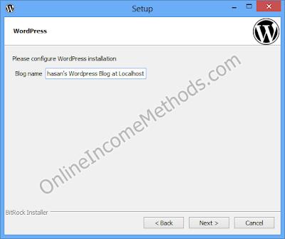 BitNami WordPress Stack Localhost - Windows Setup - Choose Blog Title