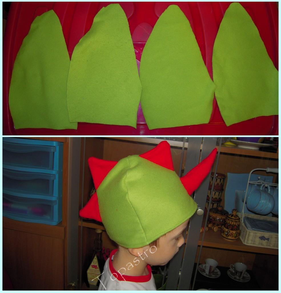 ..non so se esistono draghi o dinosauri con tre creste e un corno ma noi ne  abbiamo uno! Peccato che io abbia sbagliato le misure e il cappellino sia  ... 4e6547d7f84a