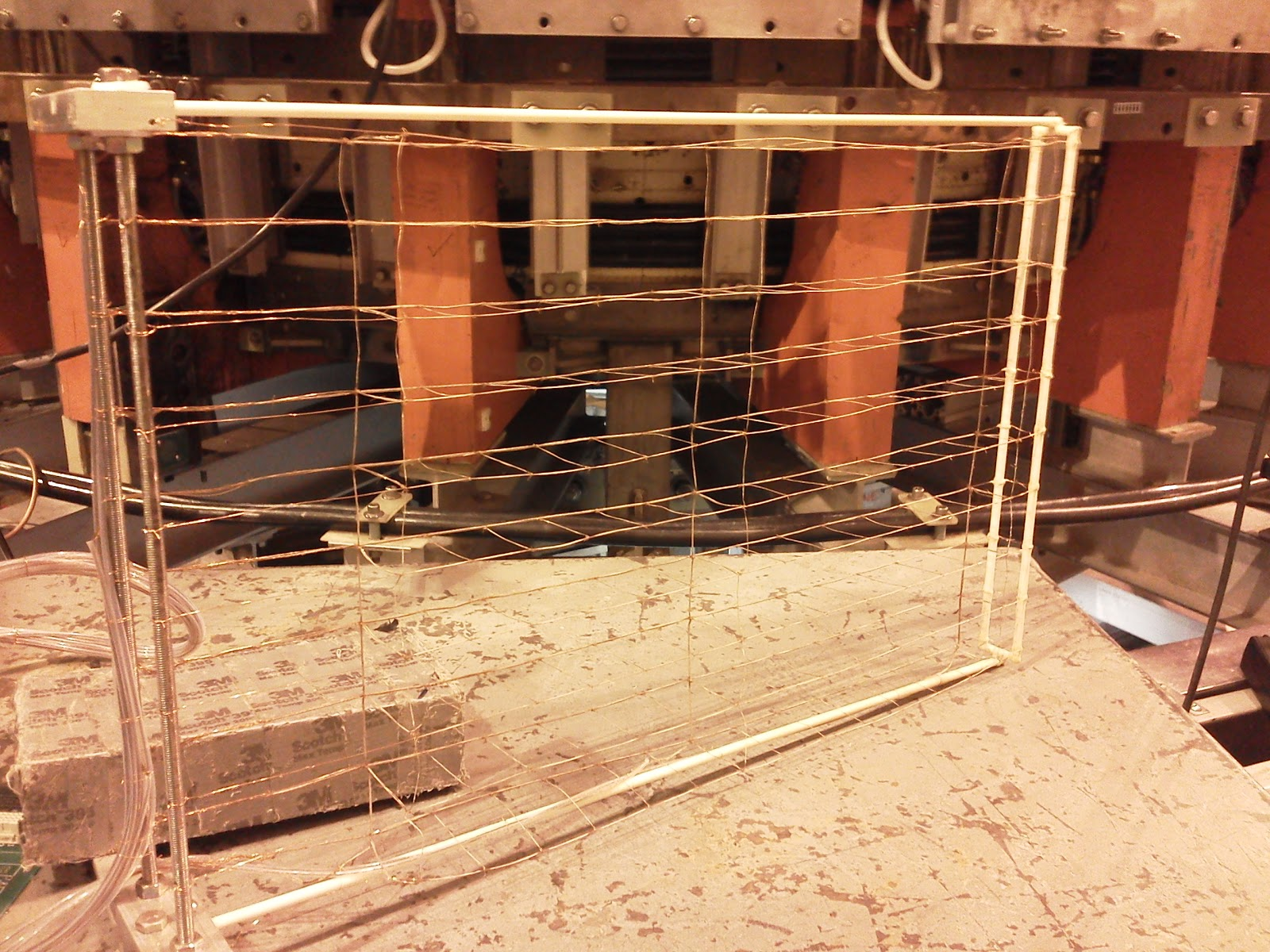 hight resolution of this wire cage is one of the instruments used to see inside the experiment magnetic fields swirl around the criss crossed copper strands