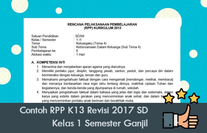 Contoh RPP K13 Revisi 2017 SD Kelas 1 Semester Ganjil