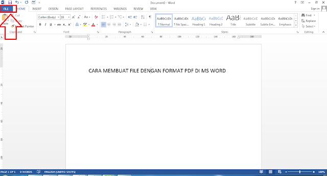Cara membuat file PDF di ms word
