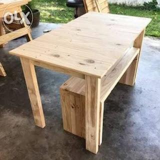 meja kafe kayu pinus