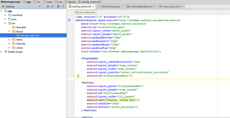Android WebView application Prompt | Android Studio 5