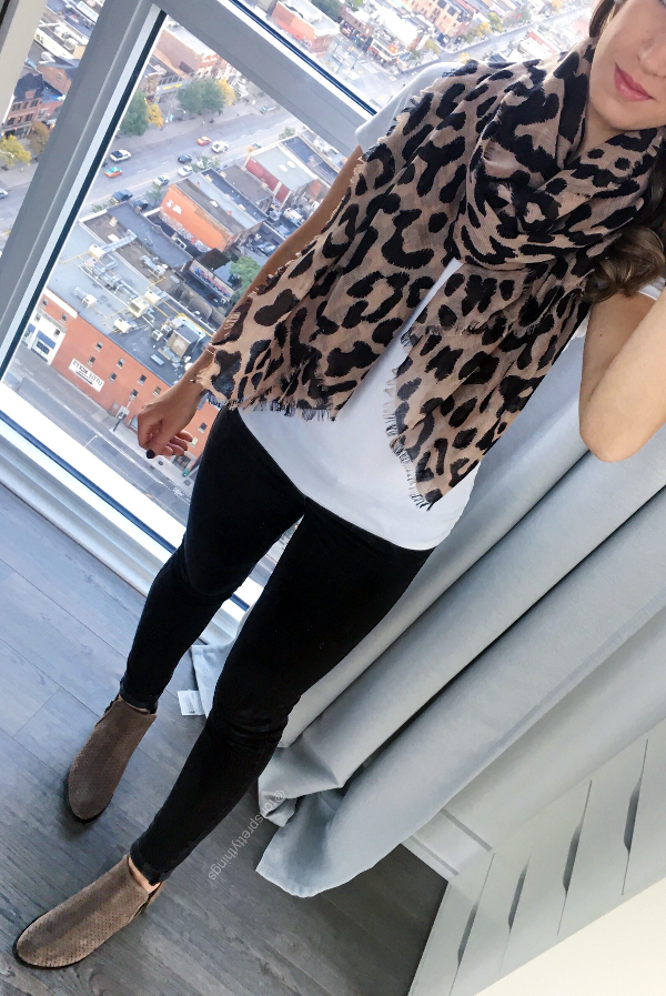 Lepoard Scarf, White Tee, Black Jeggings, Black Jeans, Leopard Fall Everyday Outfit - Tori's Pretty Things Blog