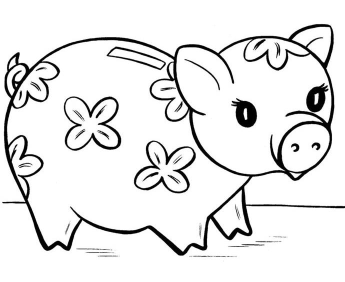 Tranh tô màu con lợn đất