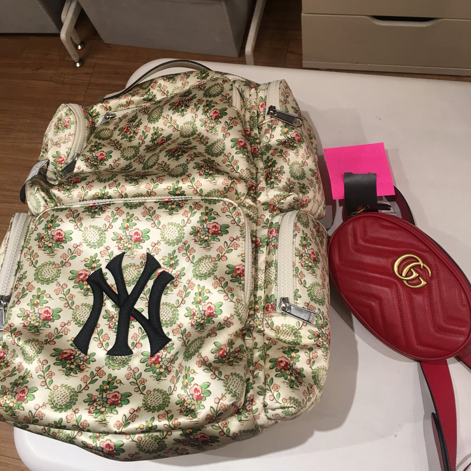 5820d4427d83 Left: Gucci 2018 Floral Satin Large Backpack W/ NY Yankees Patch
