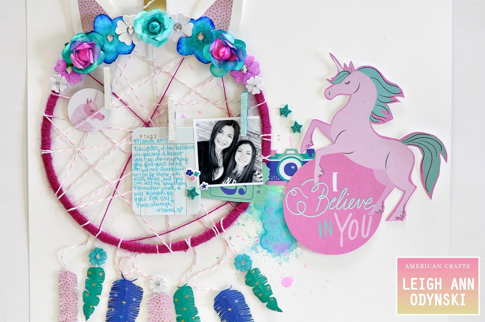 ARTFUL LEIGH: New American Crafts Scrapbook Layout Unicorn Page