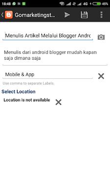 Menulis Artikel Melalui Blogger Android