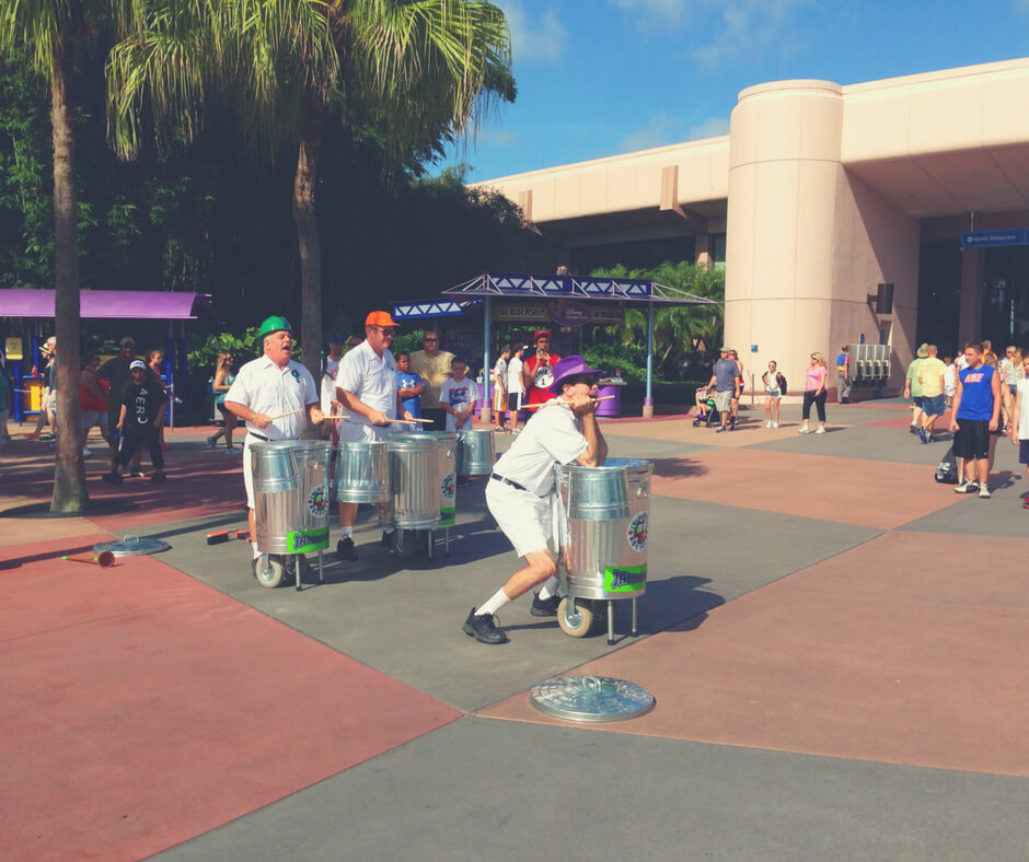 The Jammitors, street entertainers, at Epcot, Walt Disney World.