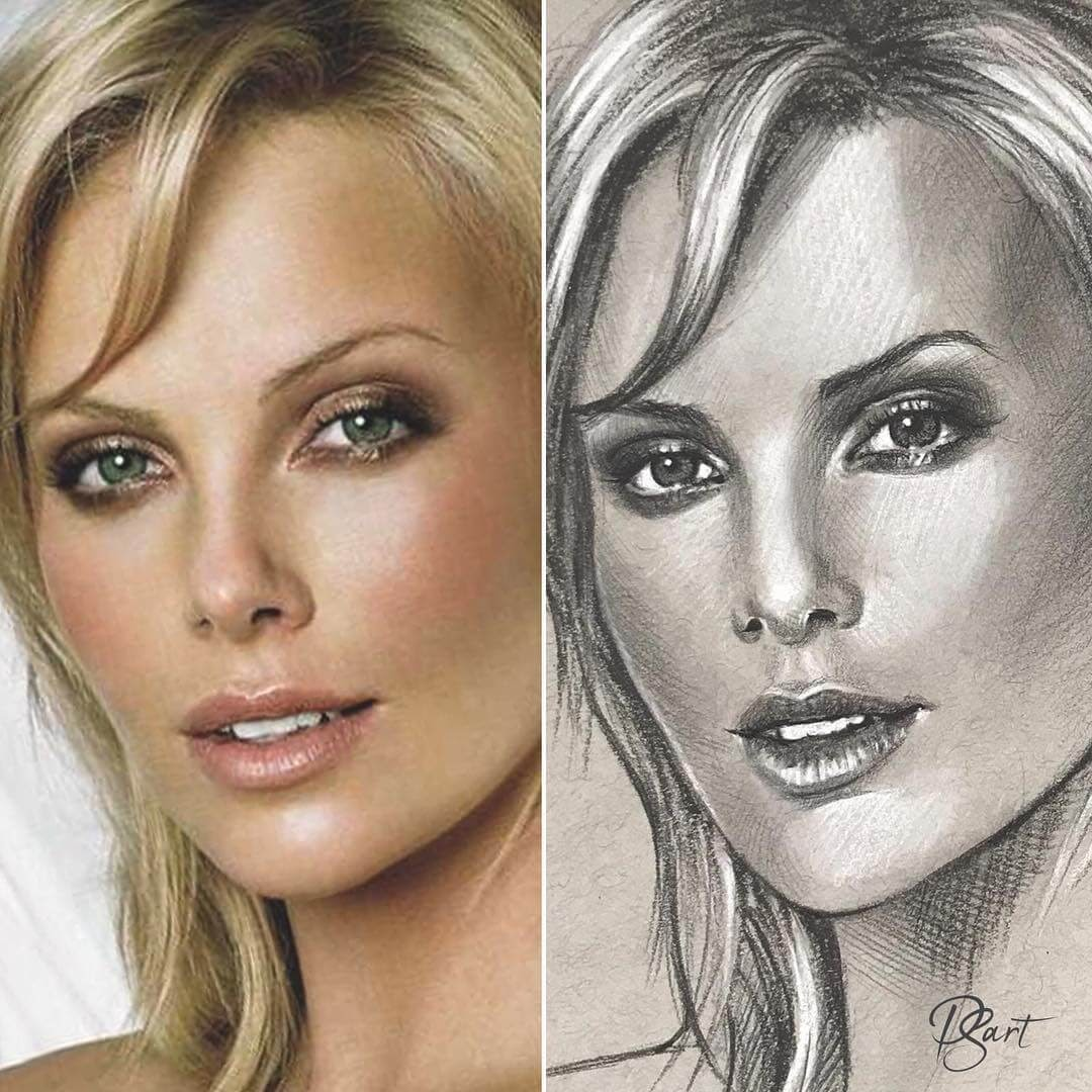 01-Charlize-Theron-Pepper-Strokes-Traditional-Drawings-Pencils-and-Pens-www-designstack-co