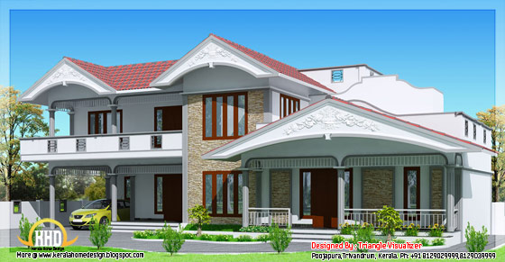 Sloped roof house in Kerala style side view - 2990 Sq. Ft. - May 2012