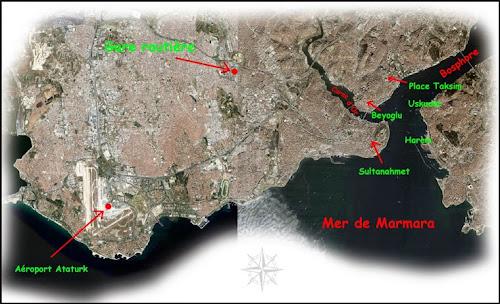 Carte de situation d'Istanbul