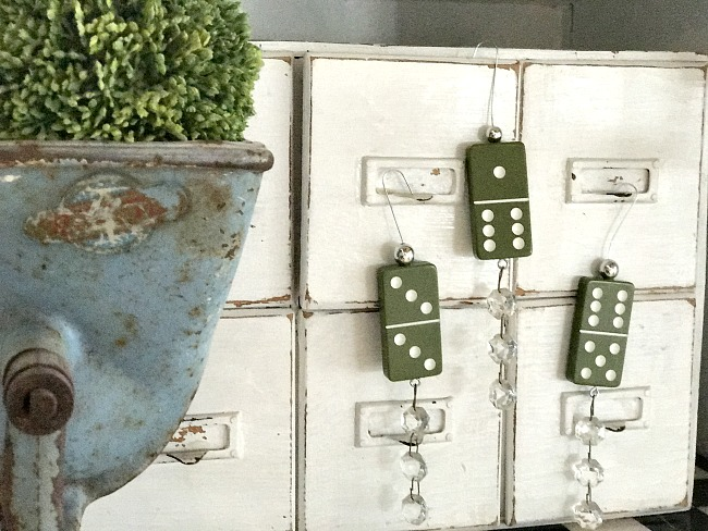 DIY Green domino christmas ornaments