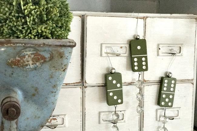 Green Bakelite Domino Ornaments