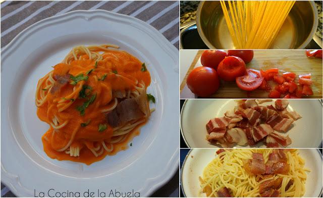 Espaguetis panceta salsa de tomate casera ingredientes receta pasos