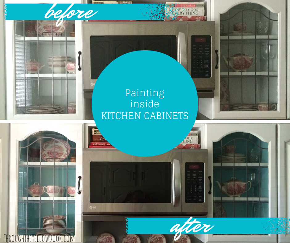 Kitchen Cabinets Project: Painting the Inside For a Pop of ...