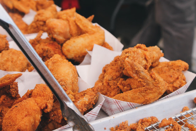 Fried chicken in paper boxes.