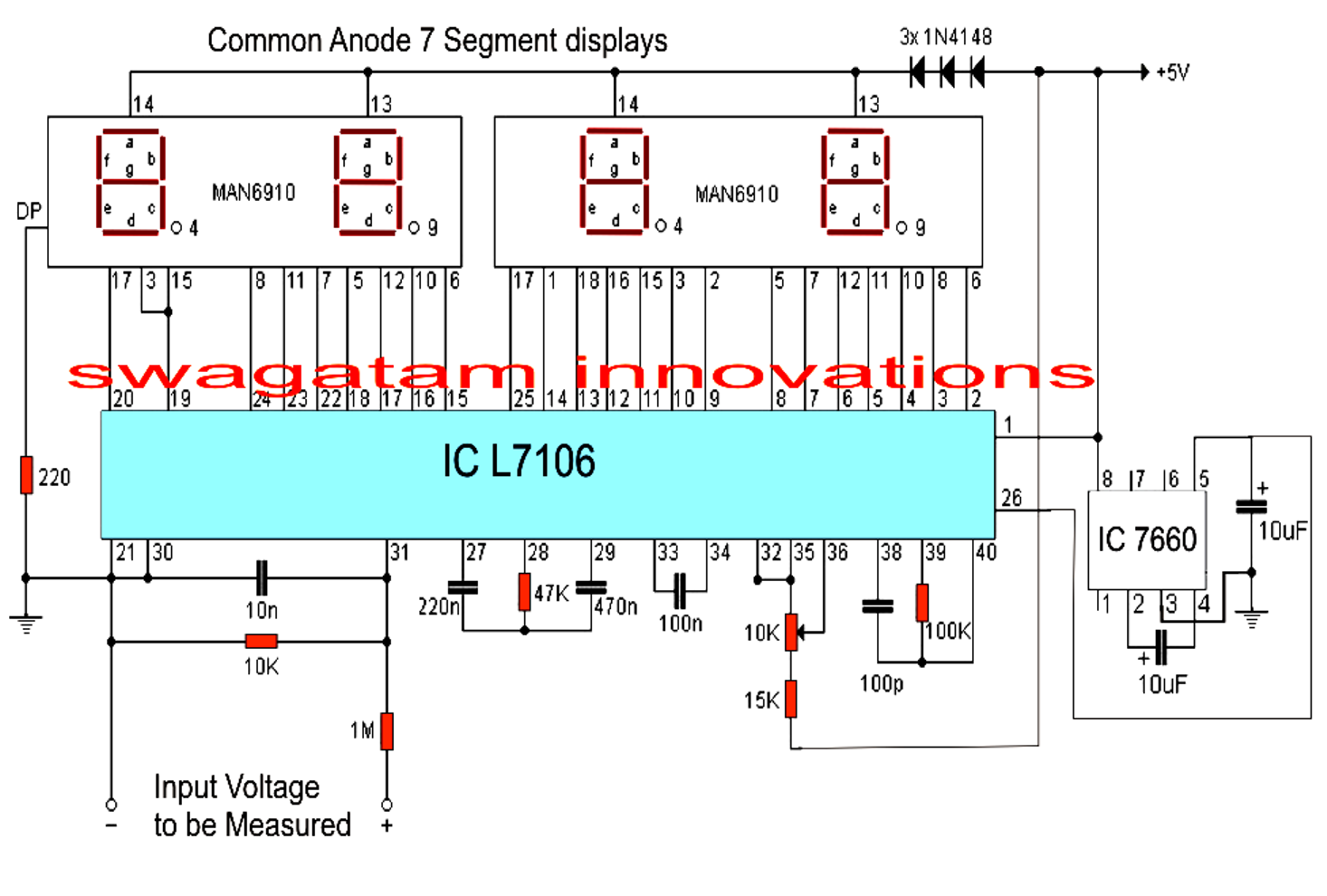 Icl7106 Voltmeter Schematic Automotive Wiring Diagram And Icl7107 3 1 2 Digit Lcd Led Display A D Converters Make This Simple Digital Circuit Using Ic L7107