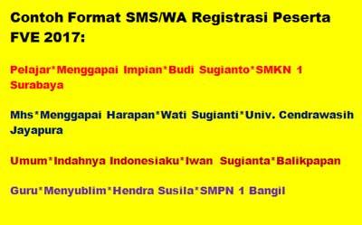 Registrasi peserta FVE 2017 dibuka mulai tanggal 1 Maret hingga 5 Oktober 2017, dengan mengirim SMS atau WA pendaftaran ke 082242458968 dengan format: kategori*judul*nama peserta*asal     'asal' peserta FVE untuk kategori pelajar dan guru adalah nama sekolah, kategori mahasiswa adalah nama kampus dan kategori umum adalah nama kota / kabupaten   Contoh:  Pelajar*Menggapai Impian*Budi Sugianto*SMKN 1 Surabaya  Mhs*Menggapai Harapan*Wati Sugianti*Univ. Cendrawasih Jayapura  Umum*Indahnya Indonesiaku*Iwan Sugianta*Balikpapan  Guru*Menyublim*Hendra Susila*SMPN 1 Bangil