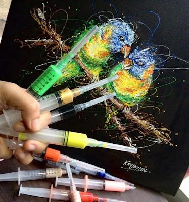 Νοσοκόμα συνδυάζει το επάγγελμά της με το πάθος της για τέχνη ζωγραφίζοντας με σύριγγες