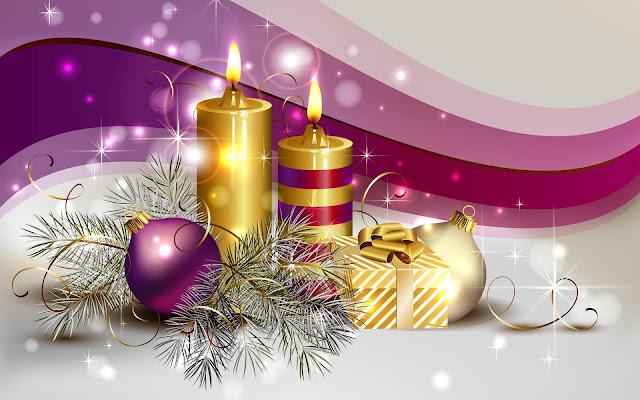 Gouden kaarsen en kerstballen