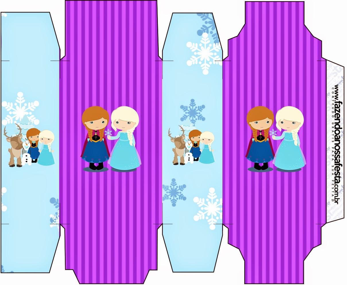 Cajas para Imprimir Gratis de Frozen Niñas en Navidad.