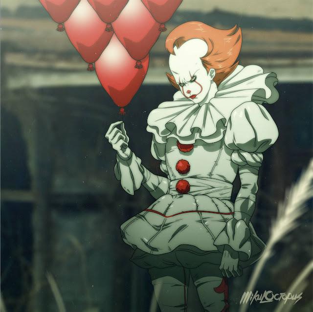 Pennywise w całej okazałości, trzymający baloniki