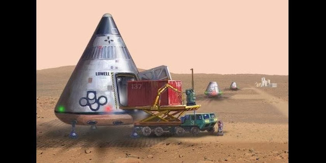"In this artist's conception, a Mars crew ferry has landed with its cargo at a landing site near a Mars base. A production plant in the background is producing hydrogen and oxygen from Martian water ice, for use as rocket fuel. Ferries would use the fuel to take off and return to low Mars orbit, to bring down more payloads from an orbital ""truck stop."" This concept is part of the ""Stairway to Mars"" laid out by the Space Development Steering Committee. Credit: John K. Strickland"