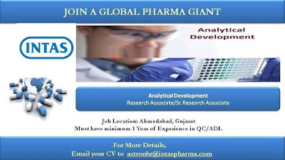 Intas Pharma Urgent Vacancy For Analytical Development / Formulation Development / Packing Development