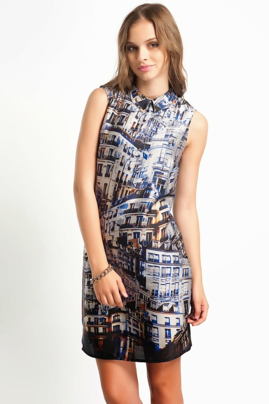 Tropikal Desenli Renklere Sahip Elbise ve Etek Modelleri