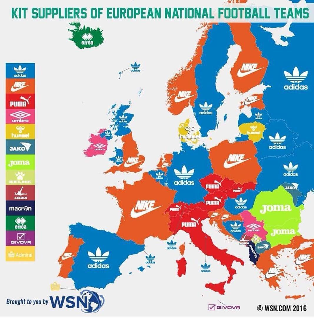 Kit Suppliers Of National Football Teams Of European Countries - Map of us cities with football teams