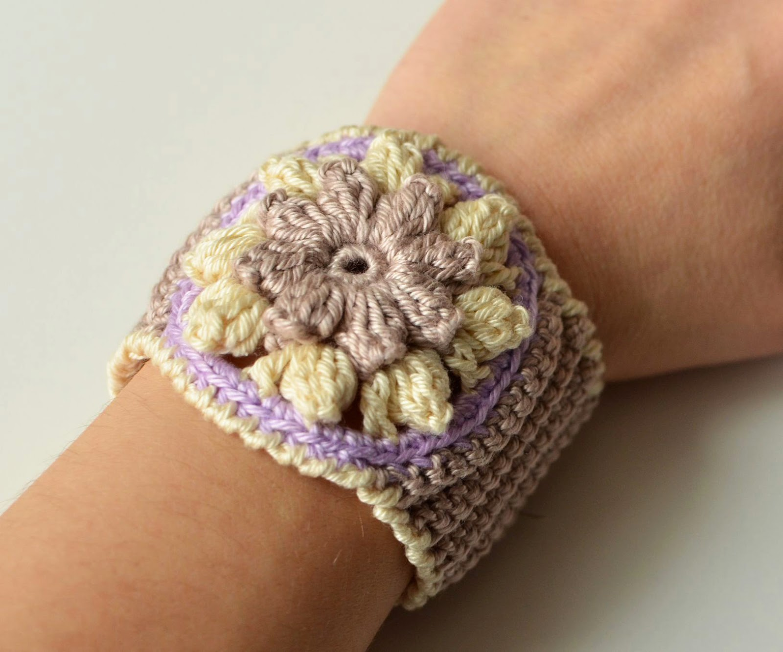 Crocheted flower cuff