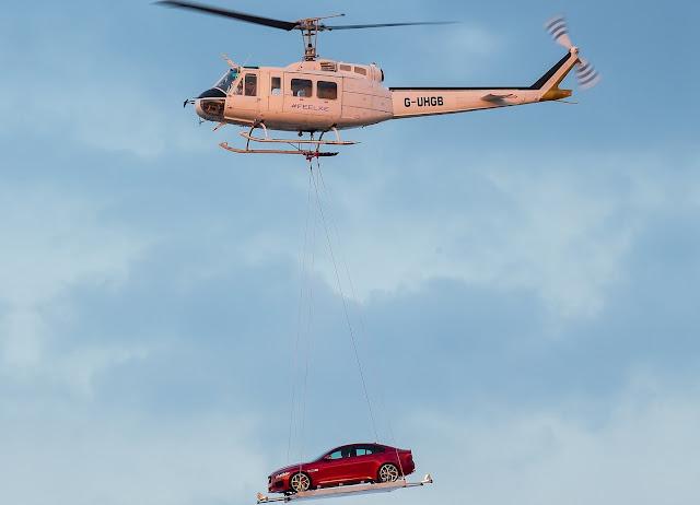 Bell 205A-1 Huey Carries Jaguar XE