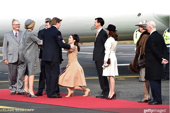 Danish Crown Prince Frederik, Danish Crown Princess Mary, Danish and Prince Consort Henrik, Danish Princess Benedikte, Danish Prince Joachim, Danish Princess Marie and Danish Queen Margrethe welcome Dutch King Willem-Alexander and Dutch Queen Maxima