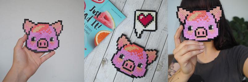 Schwein und Herz aus Bügelperlen