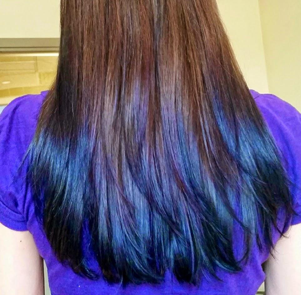 Dark Brown Hair Dip Dyed Purple Hair Color Highlighting